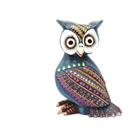 Bardo the Blue Owl Genuine Oaxacan Alebrije for Sale