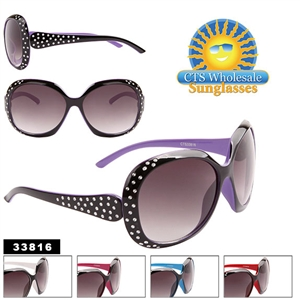 Ladies Big Sunglasses with Fake Rhinestones