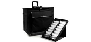 Wholesale Traveling Suitcase & Displays includes 9 fold up display trays.