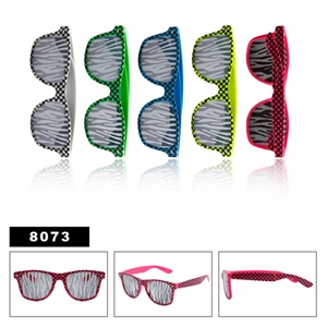 Zebra Lenses Checkered Wayfarer Sunglasses