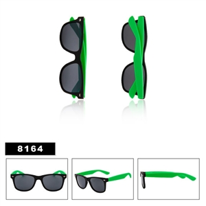 Matte Black with Green Wholesale Wayfarer Sunglasses