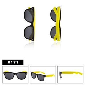 Rubber Texture Matte Black Wayfarers with Yellow