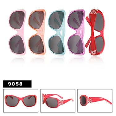 Wholesale Sunglasses for Girls with Decorative Butterflies and Faux Rhinestones
