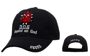 "Excellent Wholesale Religious ""D.O.G. DEPEND ON GOD JESUS CAP""-comes in Black,Blue and White."