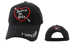 "Check out theses Wholesale Christian Baseball Hats-""Jesus InSide""-comes in Black,Pink,White and Blue."