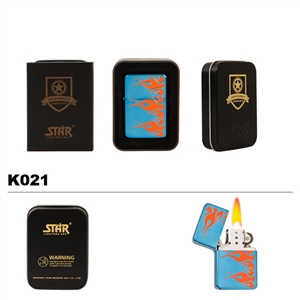 Brass Oil Lighter-Orange Flames-K021