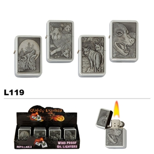Wholesale Oil Lighters Assorted Wolves L119