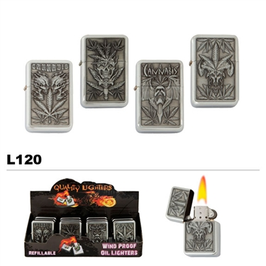 Wholesale Oil Lighters Assorted Cannabis Leaves L120