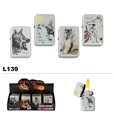 Assorted Wolves Wholesale Oil Lighters L139