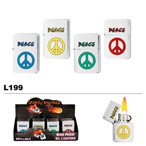 "Assorted ""Peace"" Wholesale Oil Lighters L199"