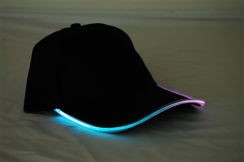 Led Lighted Glow Hat Black Fabric MultiColor LED