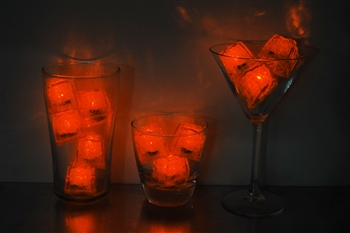 Amber Orange Jewel LiteCubes 3 Mode Light Up Ice Cubes