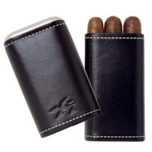 Xikar Envoy 3 Cigar Leather Case, Black
