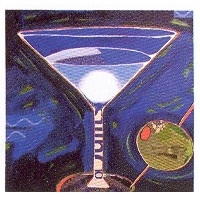 Martini In Blue Cocktail Napkins by Karyn Young