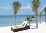 Two High Quality Outdoor Patio Lounge Chairs with Side Table
