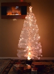 Brand New 5' Pre Lit Artificial Snow Forest White Christmas Tree Fiber Optic Pine