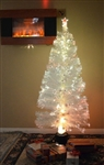 Brand New 7' Pre Lit Artificial Snow Forest White Christmas Tree Fiber Optic Pine