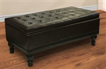 Brand New Oversize Leather Brown Ottoman With Storage Compartment