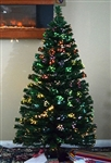 High Quality 6' Artificial Pre-Lit Christmas Tree with Color Change Fiber Optic Lights