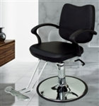 Black Leather Modern Hydraulic Barber Chair With Chrome Footrest