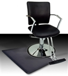 Black Leather Hydraulic Barber Chair With Chrome Footrest and Armrests and Anti Fatigue Comfort Floor Mat