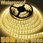 50M Waterproof 300LED/5M SMD 5050 12V Warm White Flexible Strip Lights