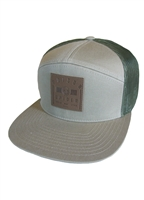 Flat Brim Hat - Leather Patch - Gray