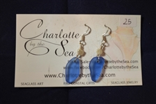 Blue seaglass earrings with fresh water pearl accent