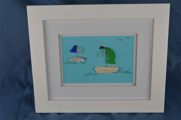 Seaglass sailboats framed 10in x 12in