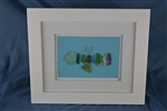 Seaglass fish framed 10in x 12in