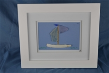 Seaglass sailboat framed 10in x 12in