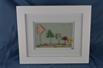 Sea pottery bird scene, 5 birds framed 10in x 12in