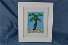 Seaglass palm tree scene, framed 10in x 12in