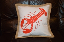 Red lobster on white pillow
