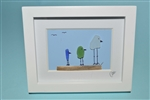 Mini 4x5in framed 3 bird color scene