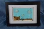 6in x 8in framed 3 frosted white seaglass bird scene