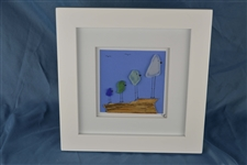 10in x 10in framed 4 color seaglass bird scene