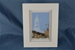 Light house 2 bird seaglass scene framed 7in x 9in
