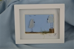 Mini 4x5in framed 2 white bird scene