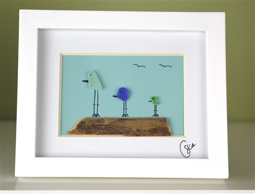 Mini 4x5in framed 3 color bird scene