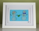 7x9in framed 2 seaglass snowman love scene