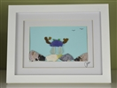 7x9in framed seaglass crab scene