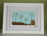 7x9in framed seaglass 4  bird family scene