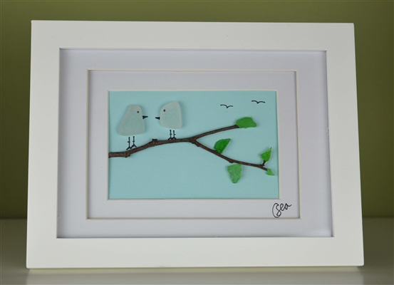 6x8in framed 2 love birds scene