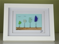 6x8in framed 4 color bird scene