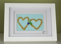 6x8in framed seaglass and sand hearts