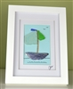 6x8in framed seaglass and shell sailboat