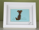 Mini 4x5in framed seaglass dog
