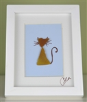 Mini 4x5in framed seaglass Cat