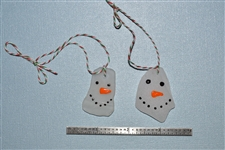 2 Mini snowman seaglass ornaments